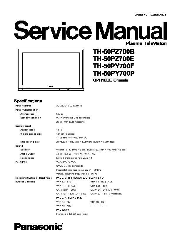 panasonic plasma service manuals page 15 Panasonic TV Manual panasonic st50 user manual