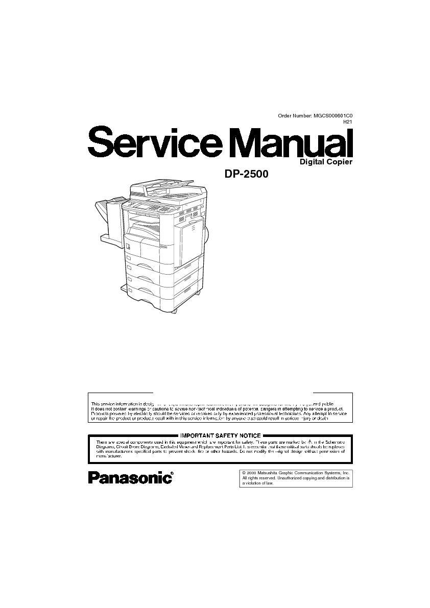 panasonic dp 2500 service manual view online or download repair manual rh servlib com Panasonic FP 7728 Copier Panasonic Copier Toner