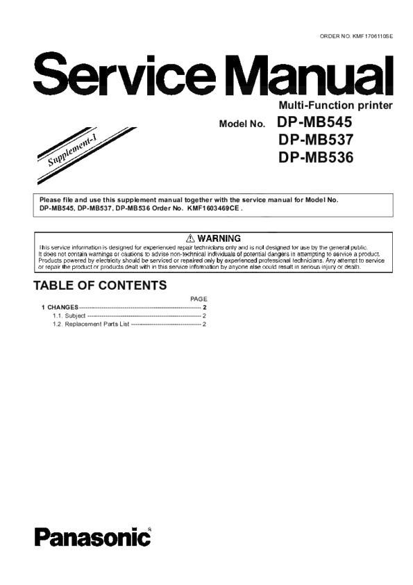 Panasonic Printer Service Manuals and Schematics — repair