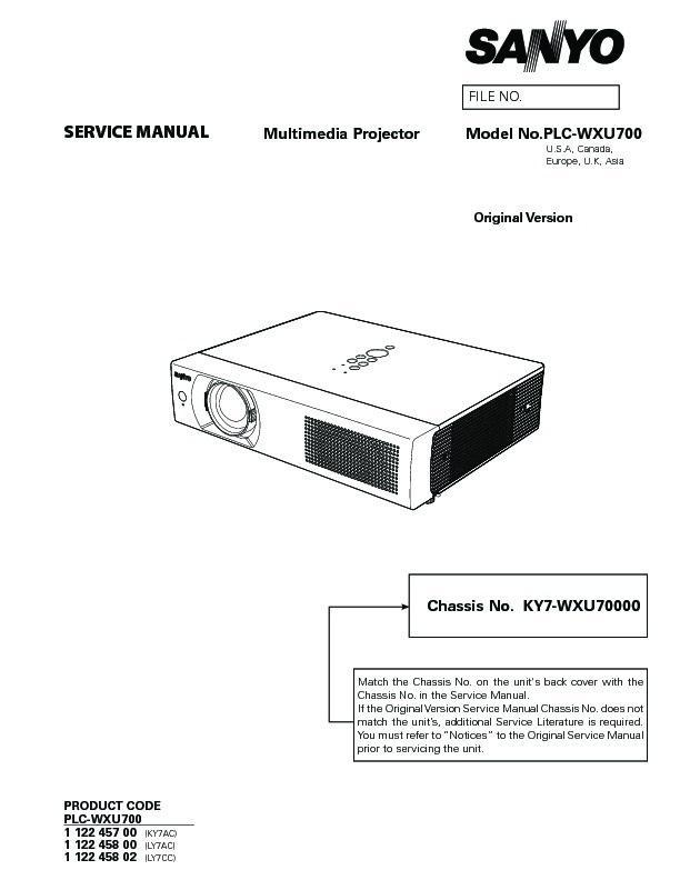 panasonic plc wxu700 serv man5 service manual view online or rh servlib com Sanyo Pro Xtrax Projector Manual Sanyo Multimedia Projectors