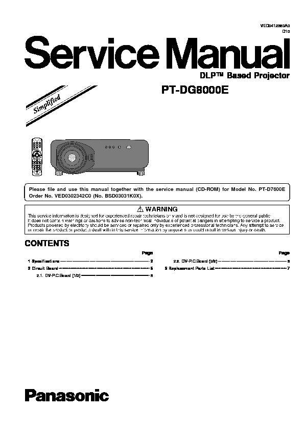 panasonic pt dg8000e service manual simplified view online or rh servlib com Panasonic Projector ManualDownload Panasonic Projector Repair