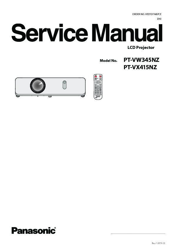 panasonic pt vw345nz pt vx415nz service manual view online or rh servlib com Manual for Panasonic Microwave Panasonic Projector ManualDownload