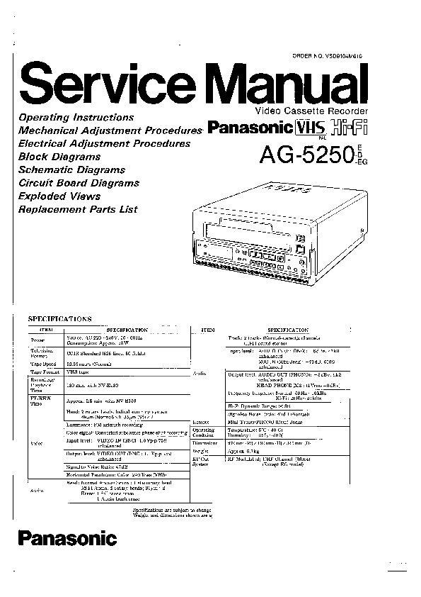 panasonic ag 5250e ag 5250b ag 5250eg service manual view online rh servlib com service manual 250 cummins service manual 2255-691