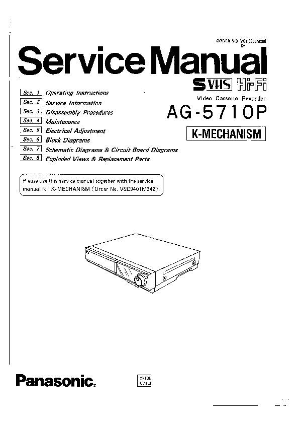 panasonic ag 5710p k mechanism service manual view. Black Bedroom Furniture Sets. Home Design Ideas