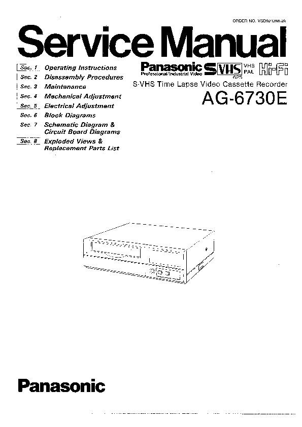 panasonic ag 6730e service manual view online or. Black Bedroom Furniture Sets. Home Design Ideas