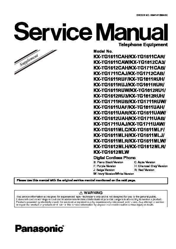 panasonic kx tg1611 cordless phone manual