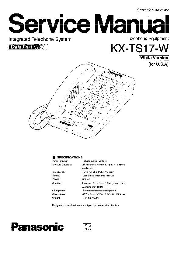 panasonic kx ts17 w service manual view online or. Black Bedroom Furniture Sets. Home Design Ideas