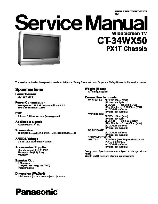 panasonic ct 34wx50 service manual view online or. Black Bedroom Furniture Sets. Home Design Ideas