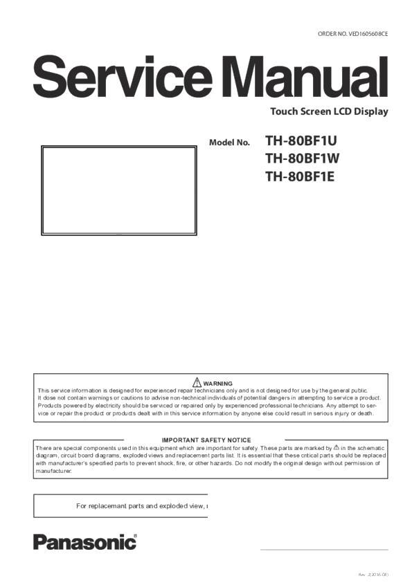 th-80bf1u, th-80bf1w, th-80bf1e service manual