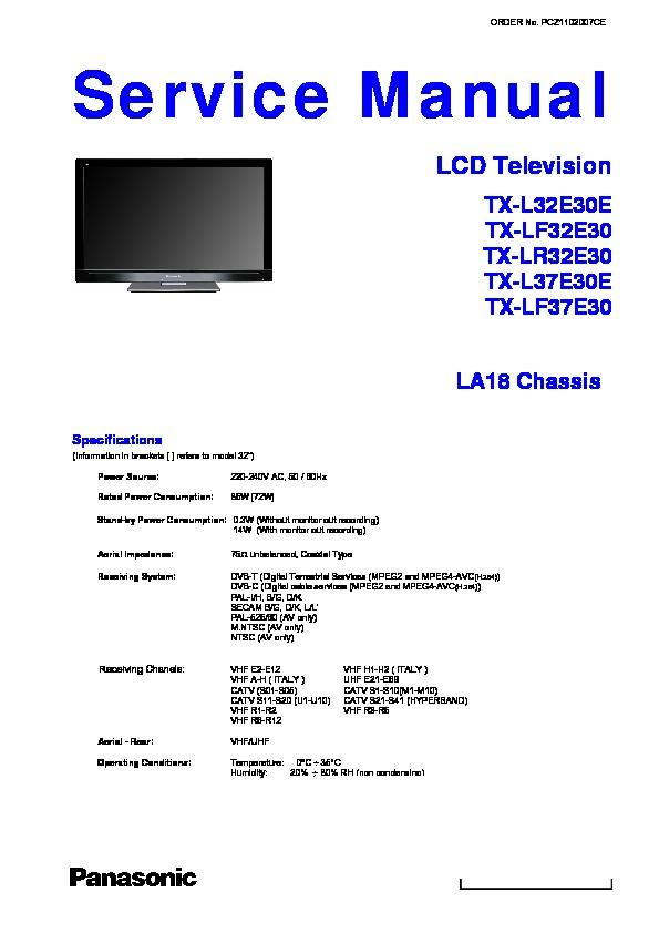 panasonic tx l42e30e lf42e30 lr42e30 service manual repair guide