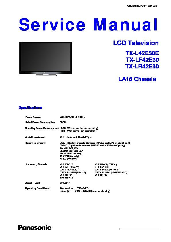 panasonic tx l42e30e tx lf42e30 tx lr42e30 service manual view rh servlib com panasonic lcd tv service manual pdf Panasonic Plasma TV