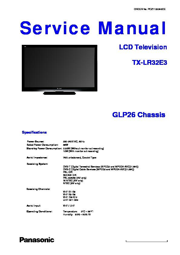 panasonic tx lr32e3 service manual view online or download repair rh servlib com Panasonic Viera TV Stand Panasonic 32 Inch TV