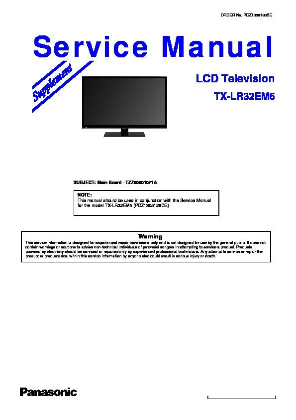 panasonic tx lr32em6 service manual supplement view online or rh servlib com Panasonic Plasma TV Panasonic 32 Inch TV