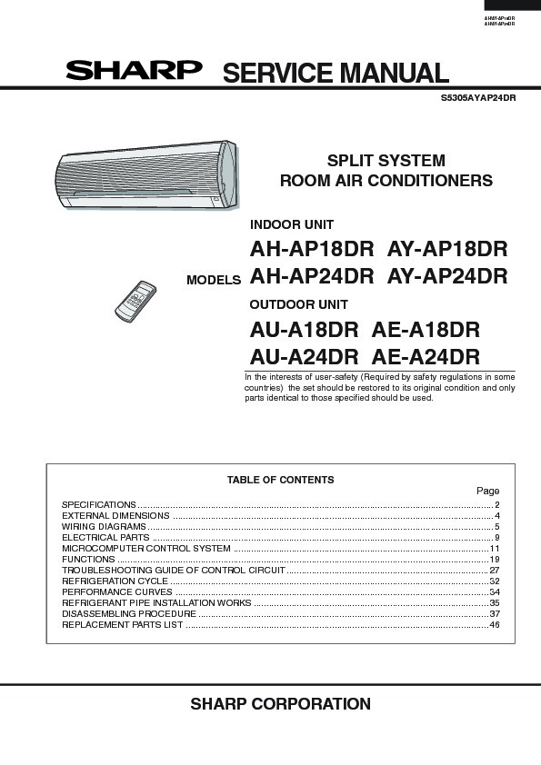 sharp ah ap24 serv man12 service manual view online or download rh servlib com sharp vacuum repair manual sharp vacuum repair manual