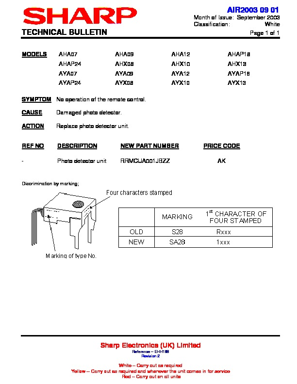 Sharp Ay Ap24 Servn16 Technical Bulletin View Online Or