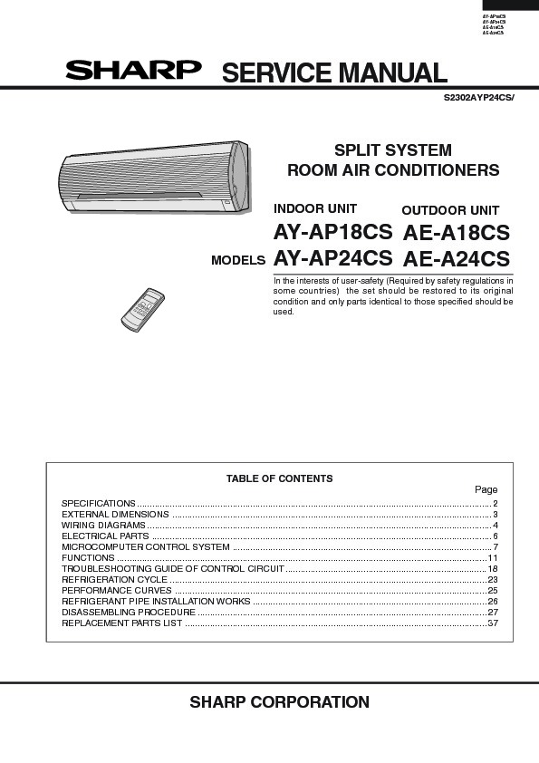 sharp ay ap24 serv man12 service manual view online or download rh servlib com Mitsubishi Air Conditioners Plant for Home Air Conditioner