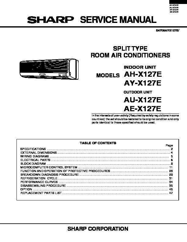 Sharp Ay X127e Service Manual View Online Or Download Repair Manual