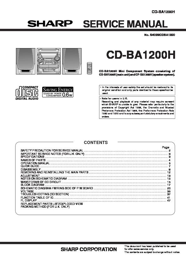 Sharp    CDBA1200  SERVMAN11  Service    Manual        View online