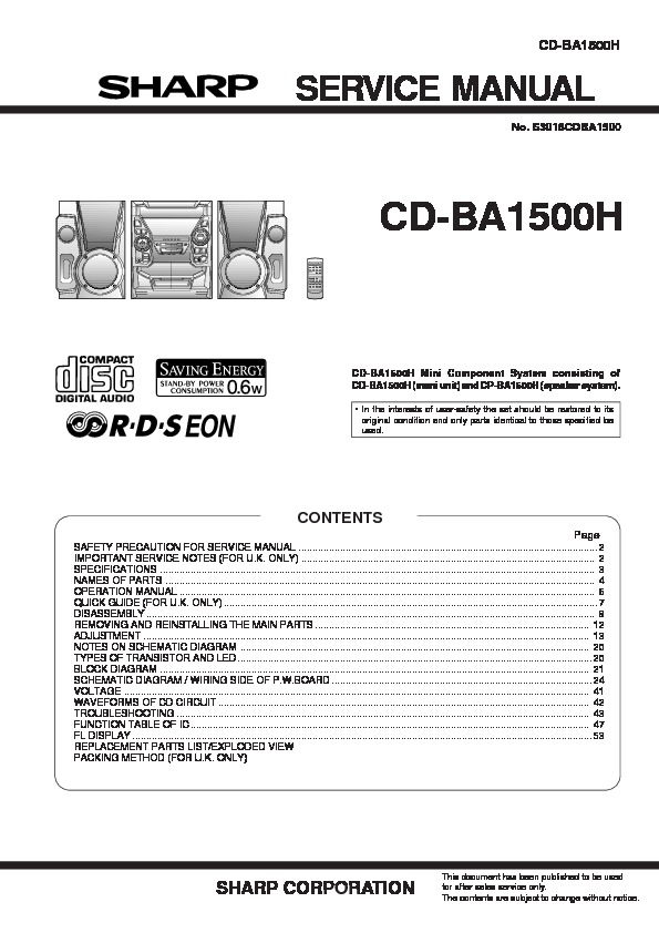 Sharp CDBA1500  SERVMAN10  Service Manual     View online