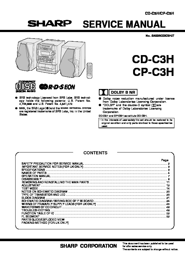 Sharp cd c3h servn14 service manual view online or download cd c3h servn14 service manual ccuart Image collections
