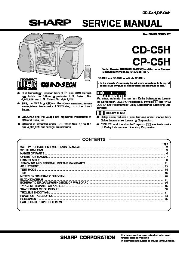 Sharp CD-C5H Service Manual — View online or Download repair manual