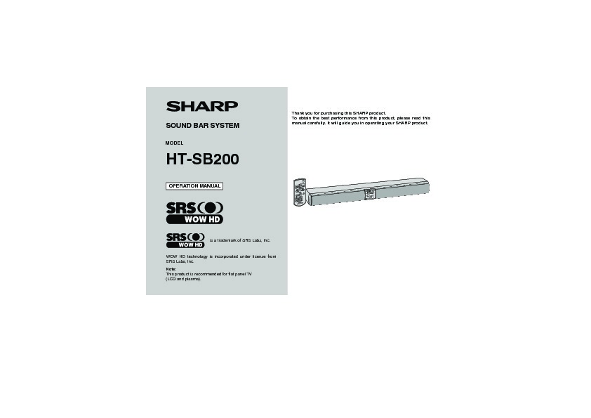 Sharp Ht  Operation Manual  U2014 View Online