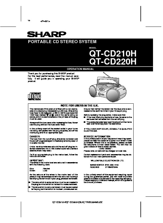 Sharp QT-CD220 User Guide / Operation Manual — View online ...