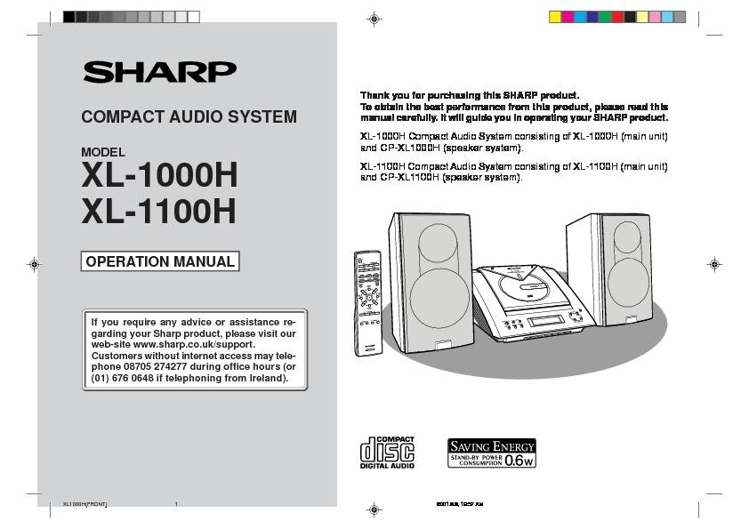 sharp xl 1000 user guide operation manual view online or rh servlib com Sharp TV Sound Bar Systems Sharp 5-Disc Stereo System