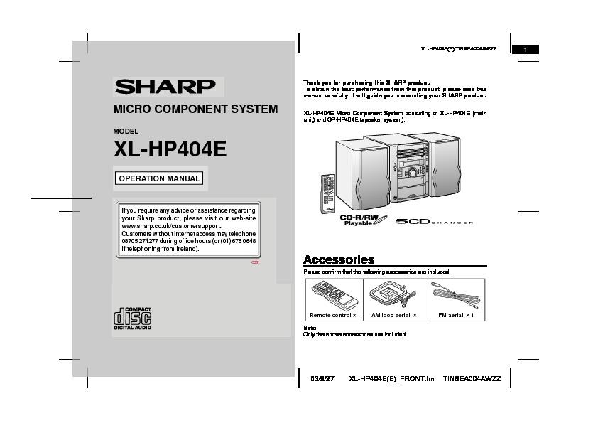 Sharp Xl  Operation Manual  U2014 View Online