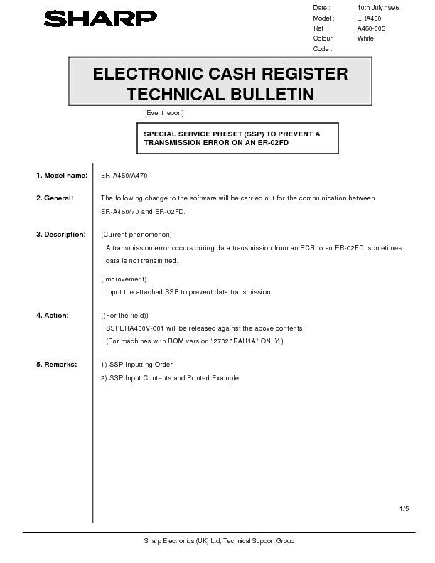 sharp er a460 serv man19 technical bulletin view online or rh servlib com How Do I Fix It KitchenAid Dishwasher Repair Guide