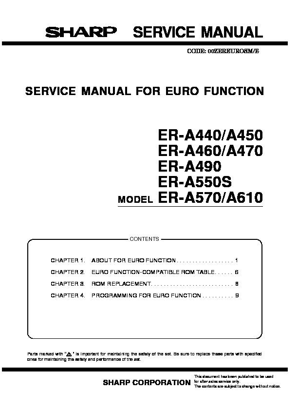sharp er a460 service manual view online or download repair manual rh servlib com Honda Repair Guide KitchenAid Dishwasher Repair Guide