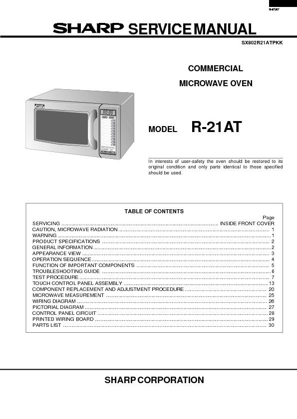 sharp r 21at service manual view online or download repair manual rh servlib com sharp inverter microwave service manual sharp microwave oven service manual