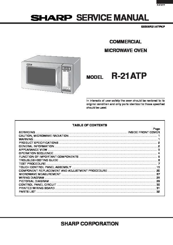 sharp r 21atp service manual view online or download repair manual rh servlib com sharp microwave troubleshooting manual sharp carousel microwave repair manual
