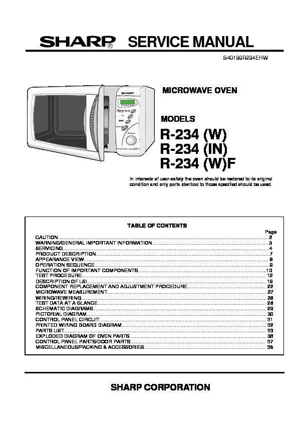 sharp r 234 serv man4 service manual view online or download rh servlib com sharp carousel microwave repair manual Sharp Microwave Thermal Fuse