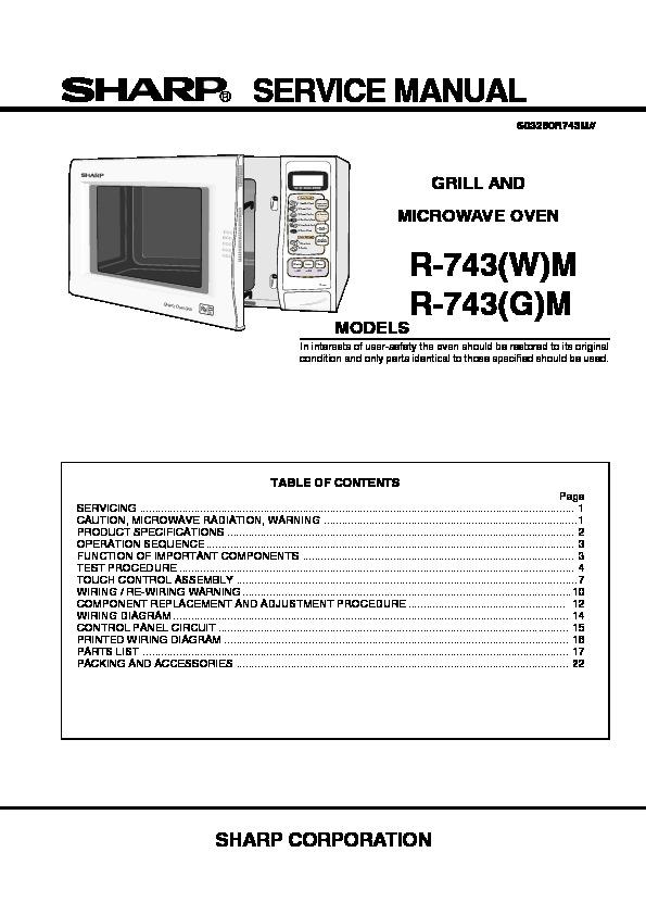 Sharp R 743 Service Manual View Online Or Download Repair
