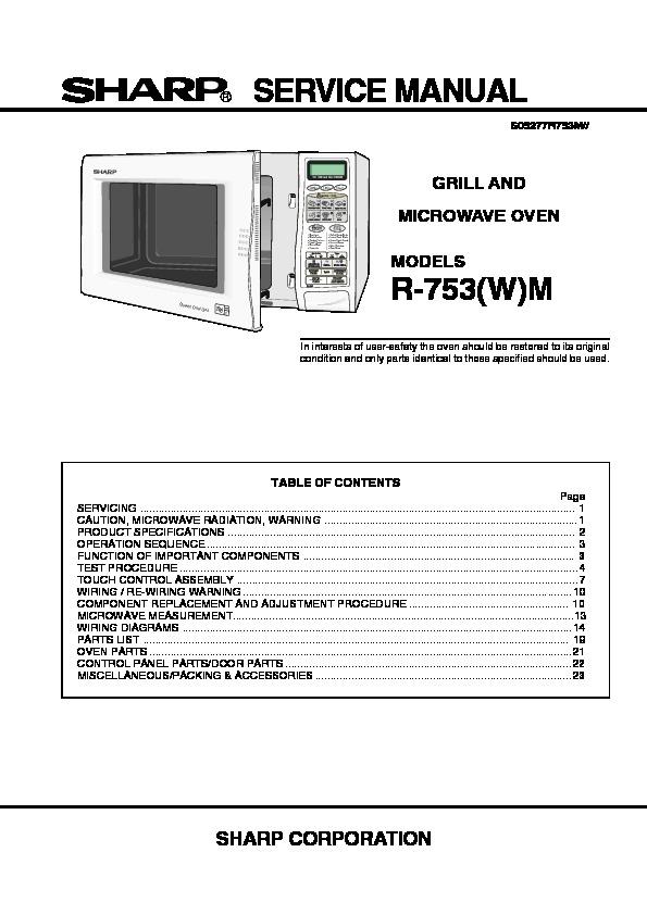 Sharp R-753 Service Manual — View online or Download repair manual ...