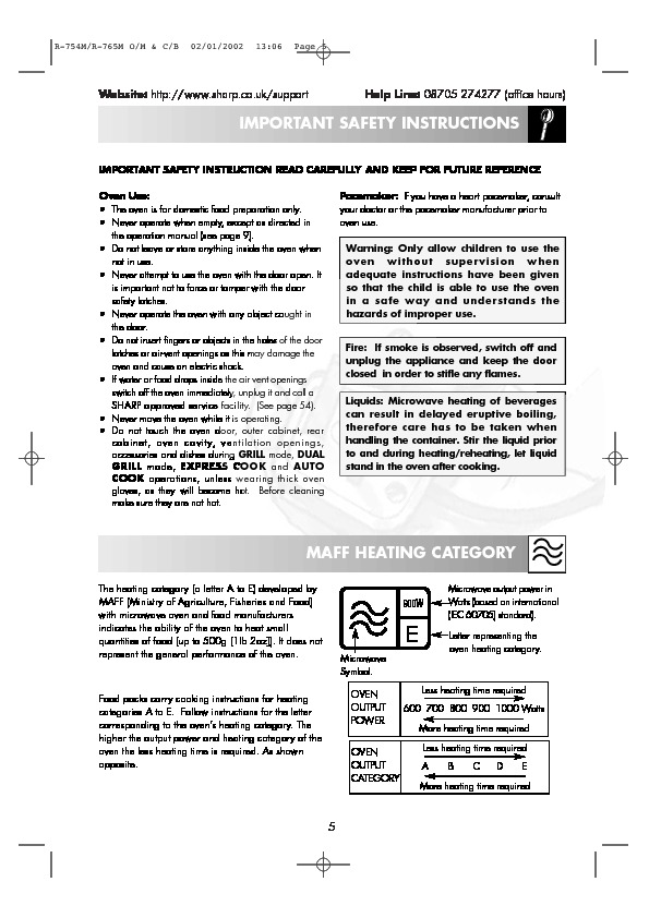 Sharp R 765m Servn25 User Guide Operation Manual View