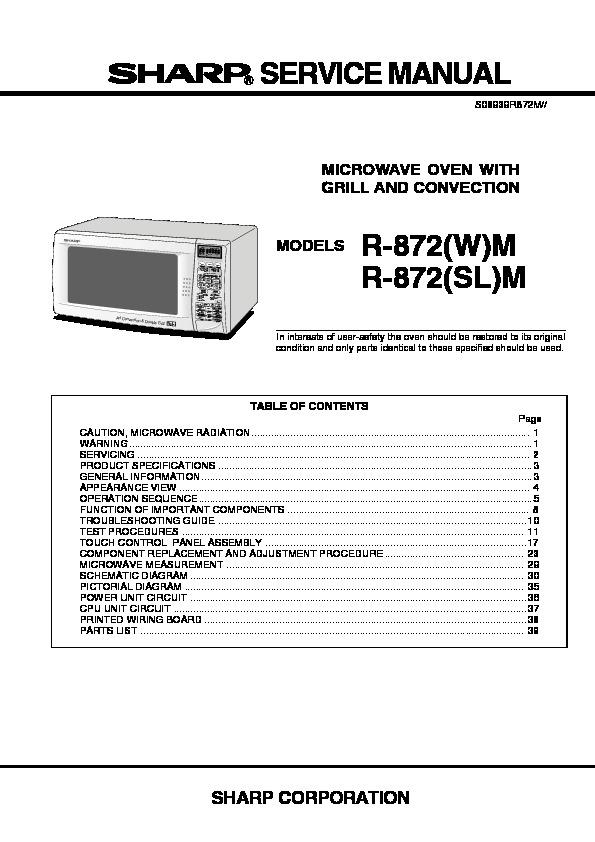 sharp r 872m serv man2 service manual view online or download rh servlib com Sharp Countertop Microwave Convection Oven Sharp Microwave Convection Oven Parts