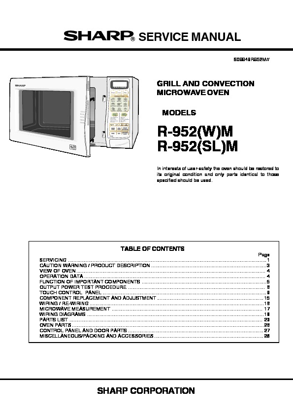 sharp r 952m service manual view online or download repair manual rh servlib com Over the Range Convection Microwave Sharp Countertop Microwave Convection Oven