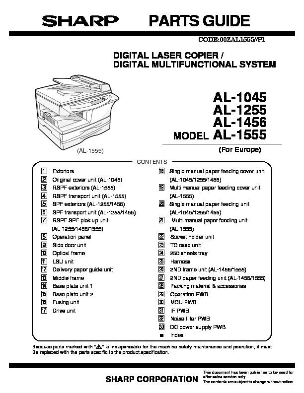Sharp AL-1456 Handy Guide — View online or Download repair