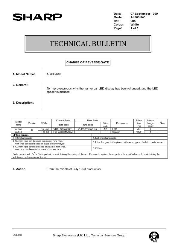 sharp al 800 serv man40 technical bulletin view online or rh servlib com KB Sharp 6525P5 KB Sharp 6525P5