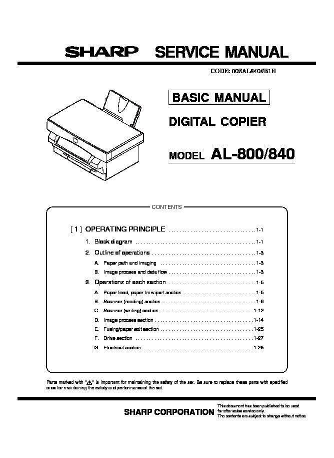 sharp al 840 serv man3 service manual view online or download rh servlib com User Manual Sharp Fax Machines KB Sharp 6525P5