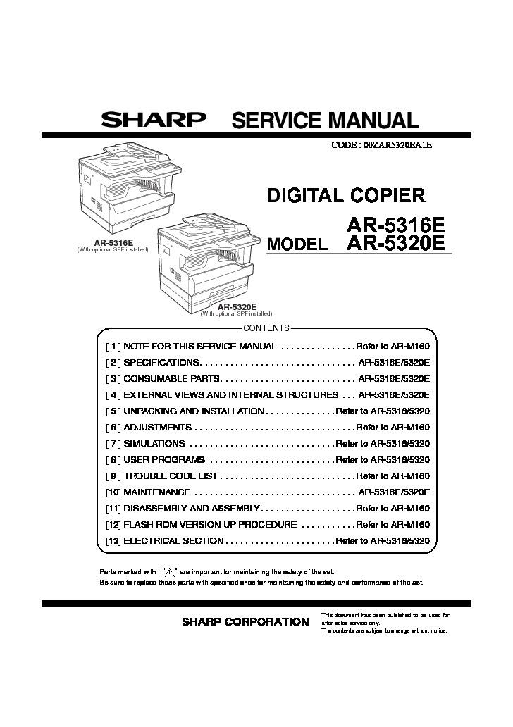 sharp ar 5316e serv man4 service manual view online or download rh servlib com sharp ar 5316 service manual sharp ar 5316 service manual pdf