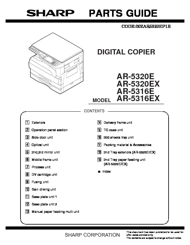 sharp ar 5316e serv man6 parts guide view online or download rh servlib com sharp photocopieur ar 5316 service manual sharp ar 5316 service manual free download