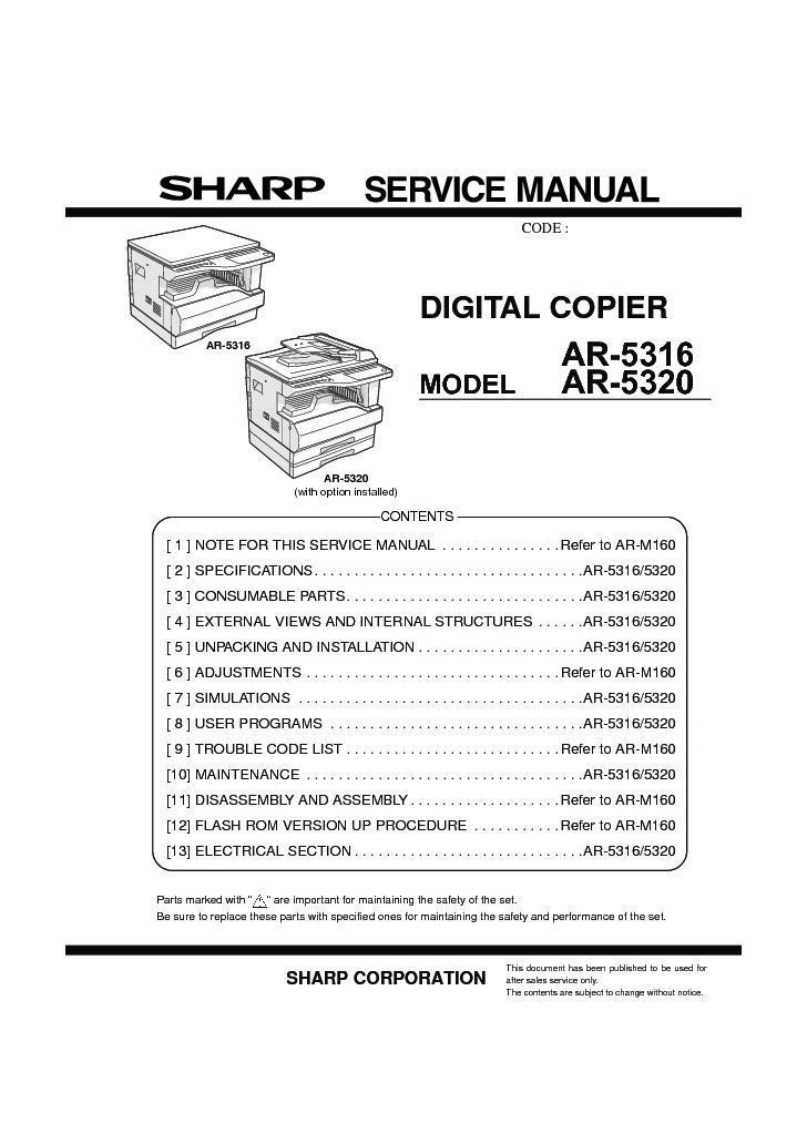 sharp ar 5320e serv man3 service manual view online or download rh servlib com sharp ar 5316 service manual pdf sharp ar 5316 service manual