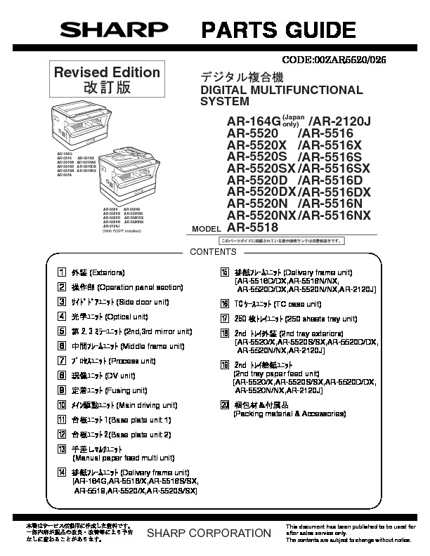 sharp ar 5320e serv man5 parts guide ar5520 parts guide page 46 rh servlib com sharp ar 5520 service manual free download Sharp AR- M355N