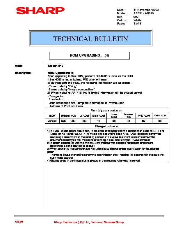 Sharp AR-810 (SERV.MAN35) Technical Bulletin — View online or ...
