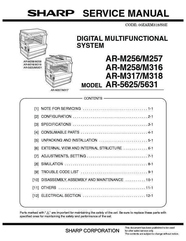 sharp ar m316 serv man34 technical bulletin view online or rh servlib com NexusLink 5631 Manual Port 5631