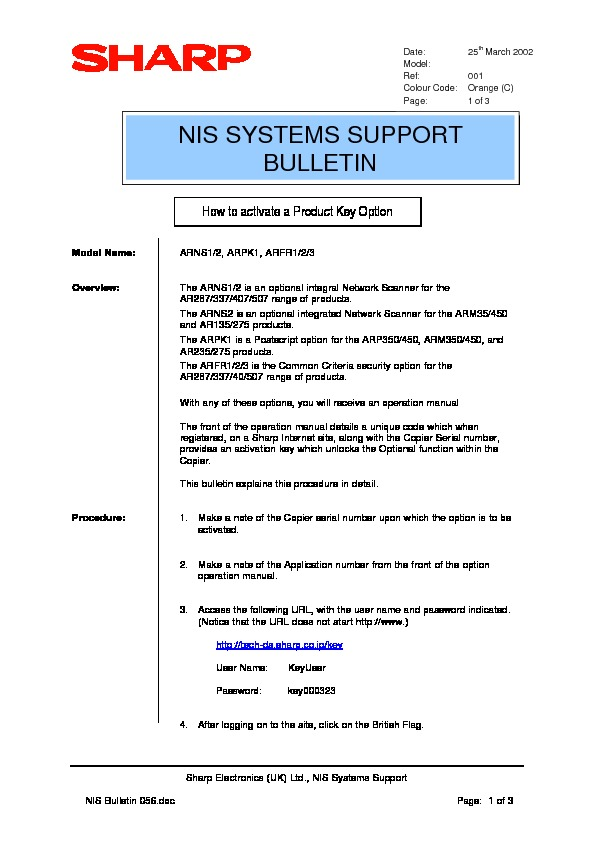 sharp ar ns2 serv man19 technical bulletin view online or rh servlib com NS2 Gas NS2 Chemical Family