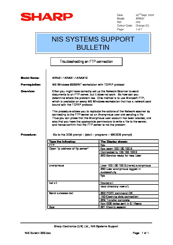 sharp ar ns2 serv man22 technical bulletin view online or rh servlib com NS2 Stats NS2 Game